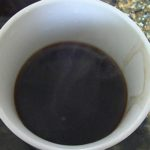 moka pot coffee in cup steamy hot