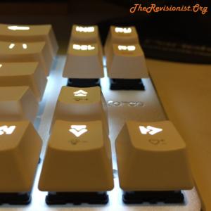68 Keys Mini arrow keys glowing keycaps close up for Magicforce mechanical keyboard