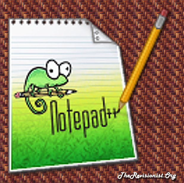 Notepad++ icon on tiled background