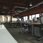 expansive workspace long hall working environment