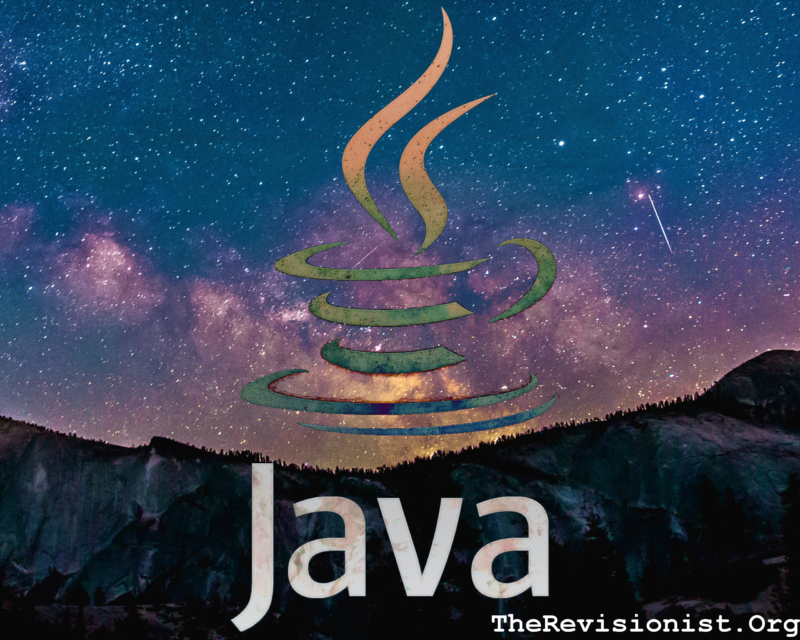 stary sky purple cliff with trees, and java symbol ontop featured image