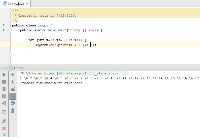 Java for loop make numerline
