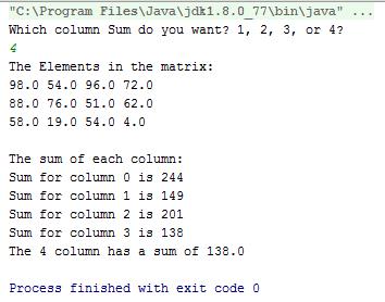 Java Dimensional Array sum of all columns code 2
