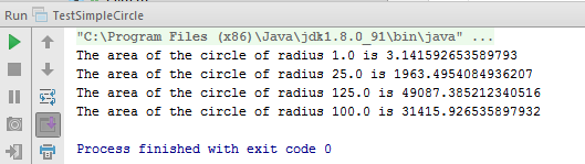 The area of the circle of radius 1.0 is 3.141592653589793 The area of the circle of radius 25.0 is 1963.4954084936207 The area of the circle of radius 125.0 is 49087.385212340516 The area of the circle of radius 100.0 is 31415.926535897932