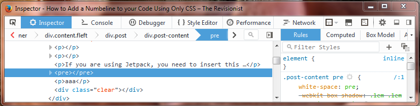 Inspect Element to find name before pre tag