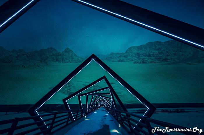 misty dark cloudy desert with snow bridge