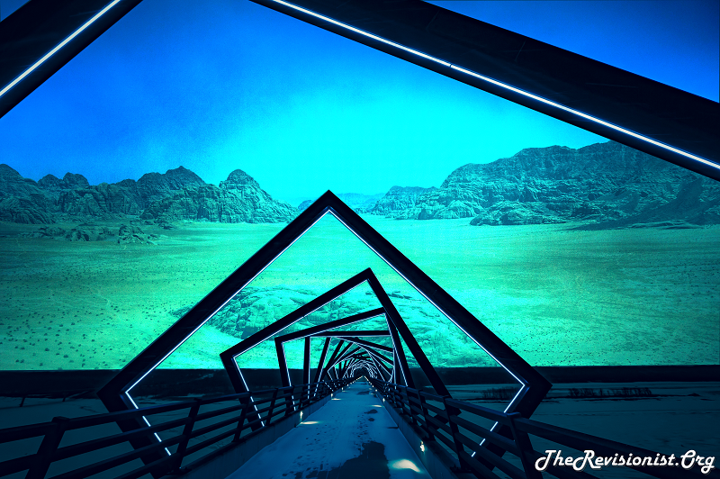 blue green surreal desert looks like alien sea flor with snow bridge