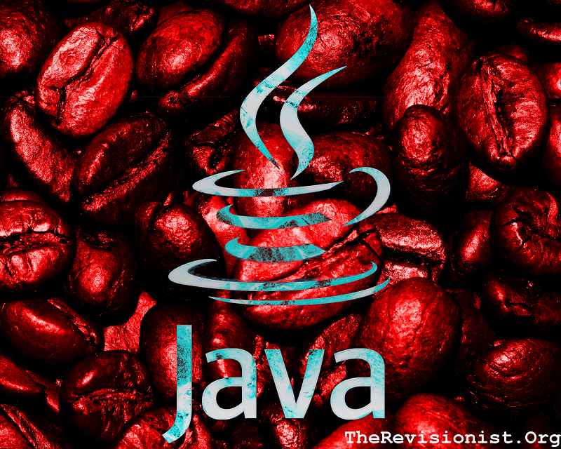 Blue Java symbol ontop of red hue coffee beans