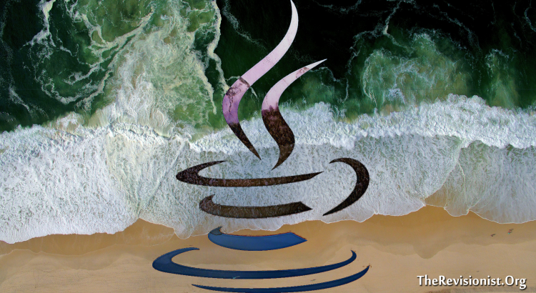 java programming symbol imprint on green sea yellow sand beack background