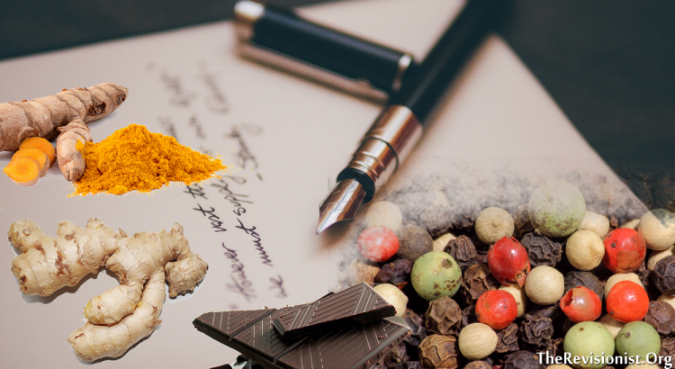 turmeric ginger chocolate pieces black peppter and fountain pen for featured image