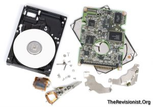 interals of Hard Disk Drive taken apart disassembled