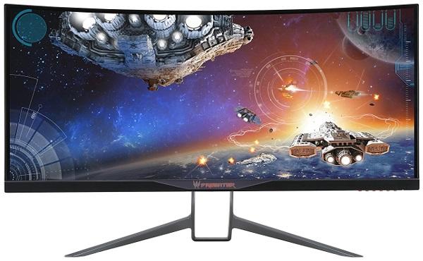 widescreen predator monitor depicting space ship gameplay on screen