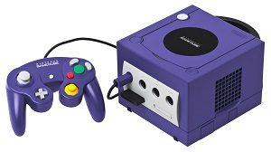 game cube gaming station with controller purple color