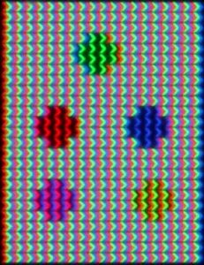 lcd-Crystals-close-up with green blue red purple and mixed color dots