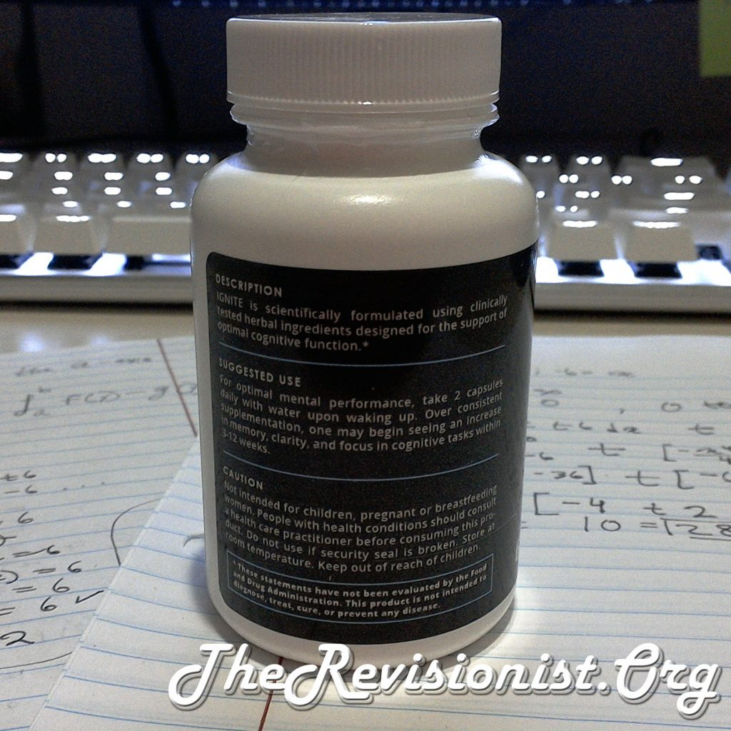 directions for taking the Namobrain IGNITE Stack pills, the description, and caution or warning information