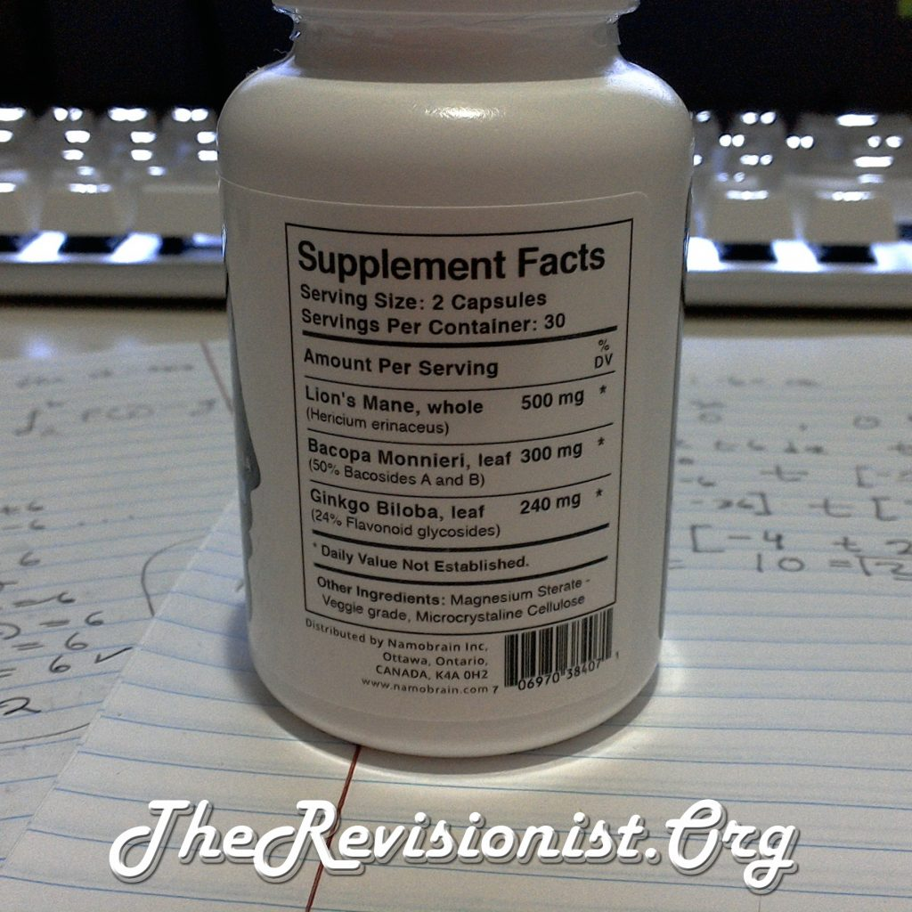 Namobrain IGNITE Stack behind the bottle supplement facts information