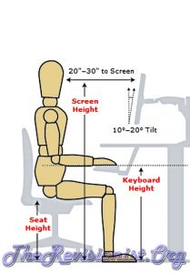 sitting desk measurements human seat height keyboard height screen height