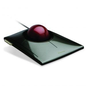 slim profile trackball red ball shiny grey base
