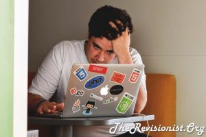 stressed out guy working on a laptop with php apple github CSS NODE JS Stack Overflow logos
