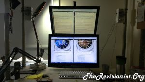 workspace with tilted monitors on V002R VIVO