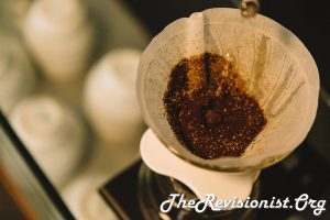 pour over cone filter glass container with coffee
