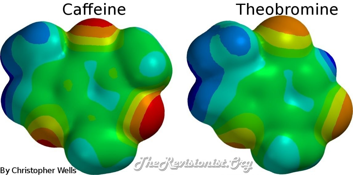 3D image showing polarization of caffeine and theobromine molecules