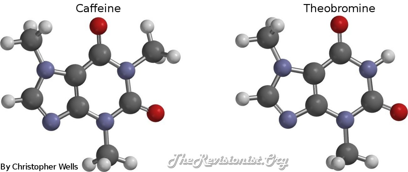 ball stick models of caffeine and theobromine