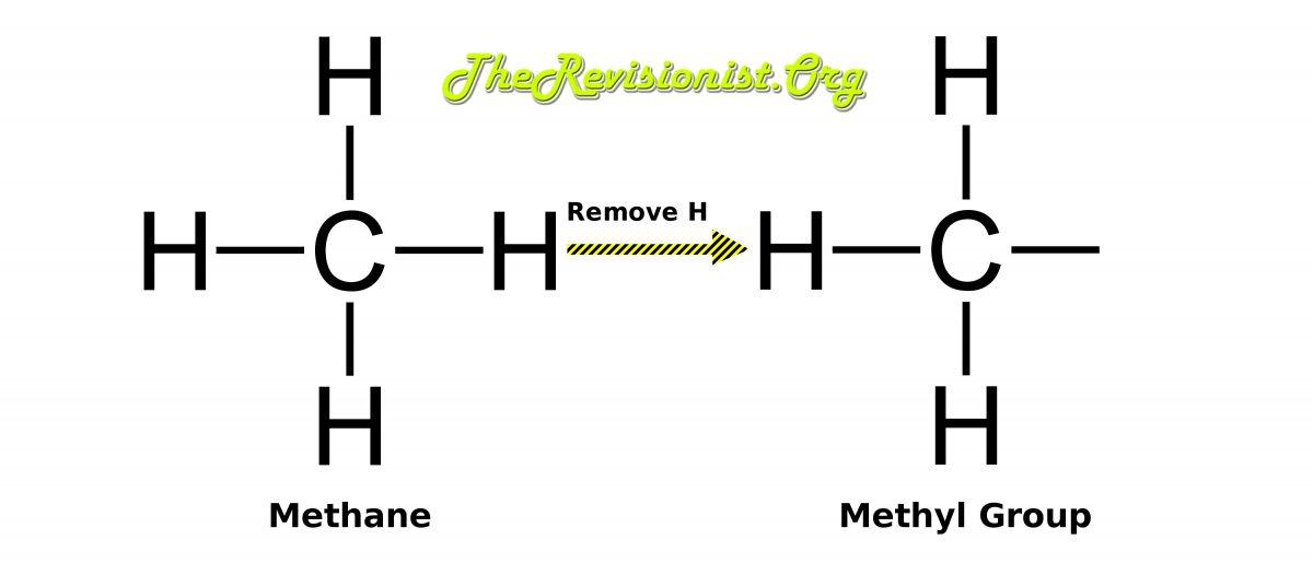 diagram showing methane to methyl group