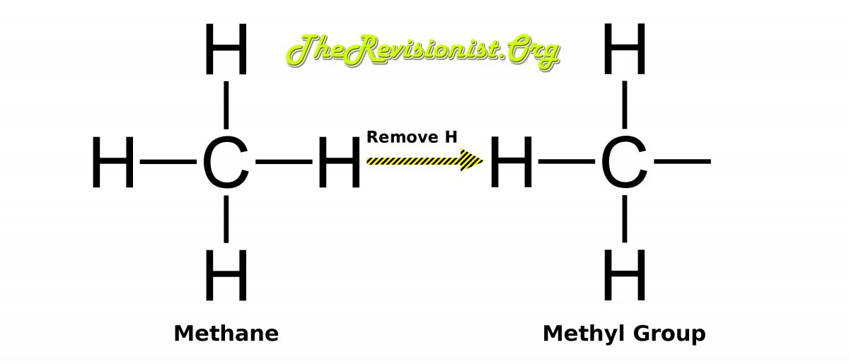 diagram showing methane to methyl group