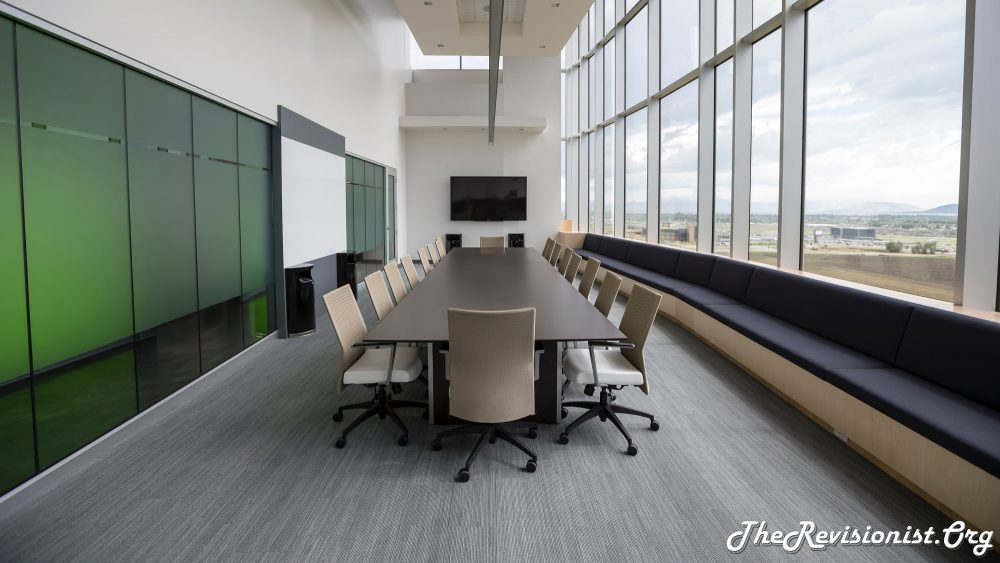 long office space meeting area
