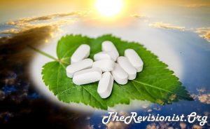 5-HT serotonin neurotransmitter pills on leaf