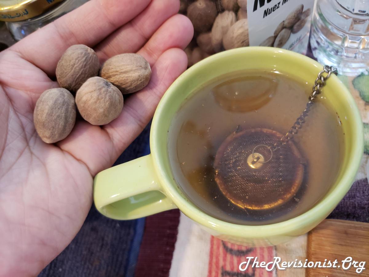 Left: Nutmeg in hand. Right: Spice nutmeg cinnamon clove tea freshly brewed