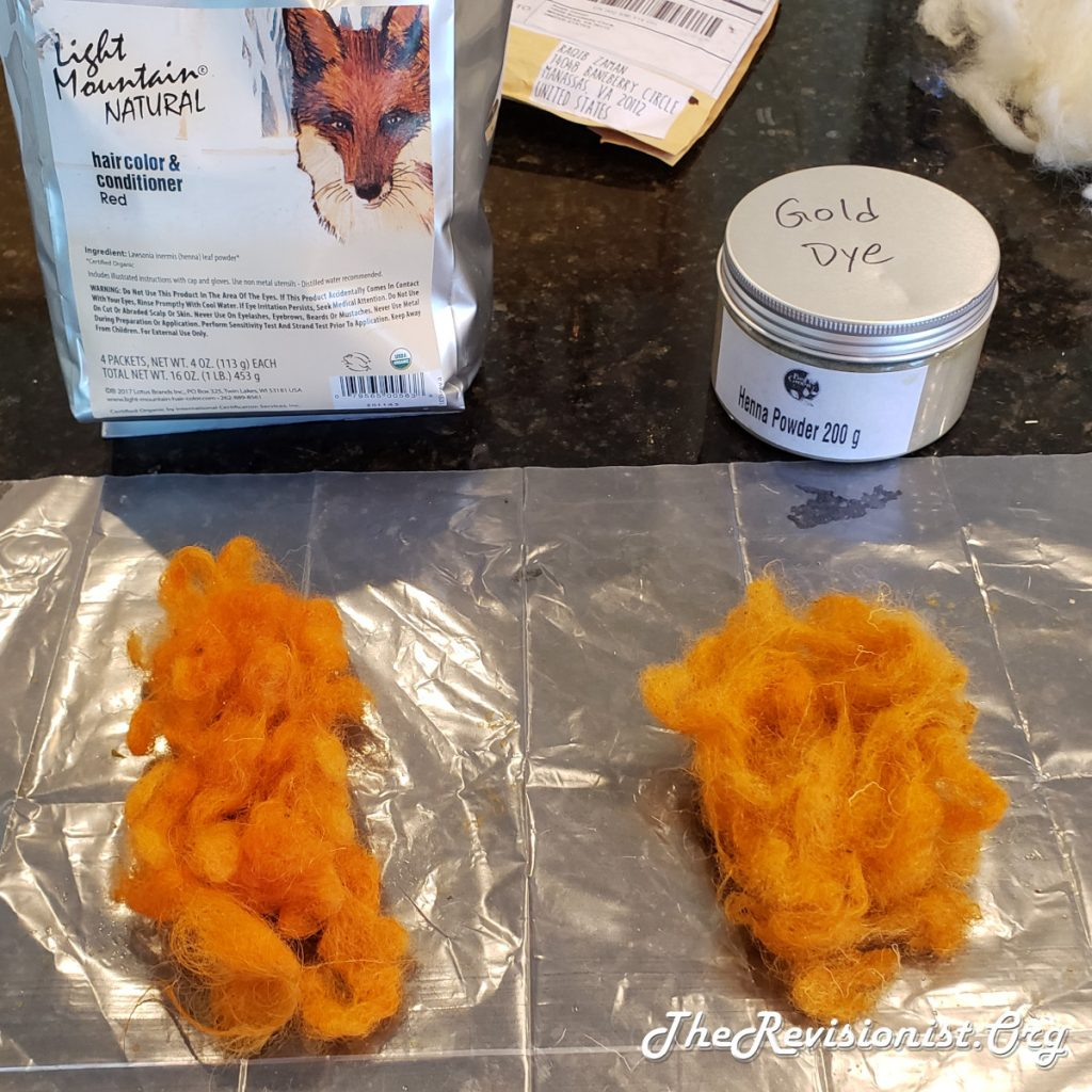 Wool Dyed with Henna. On the Left is Light Mountain Henna Red Orange. On the Right is Moroccan Henna Light Orange or Gold.