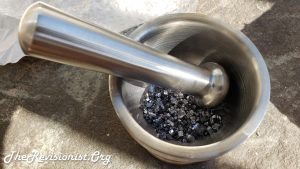 Steel Mortar & Pestle Filled with Crush Silvery Grey Stones