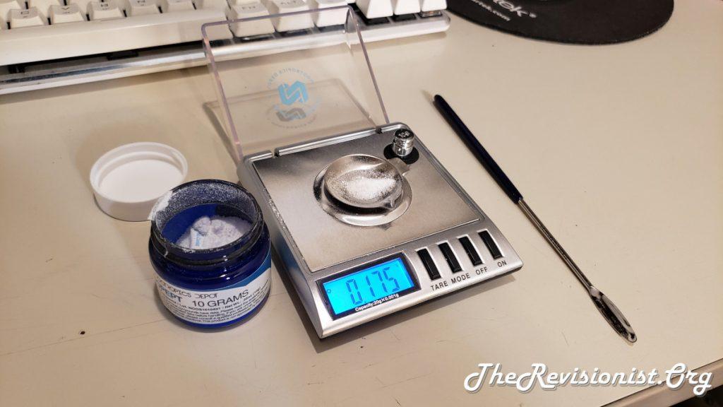 Nootropics Depot Noopept Powder Milligram scale and micro scoop